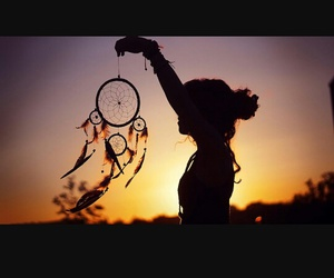 dreamcatcher, girl, and sunset image