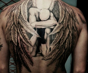 angel, black, and man image