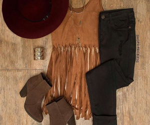 boots, feathers, and hat image