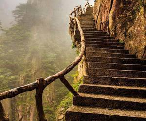 nature, stairs, and mountains image