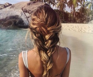 beach, curly, and brown image