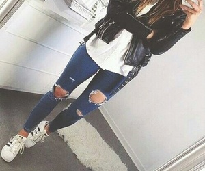 adidas, leather, and ripped jeans image
