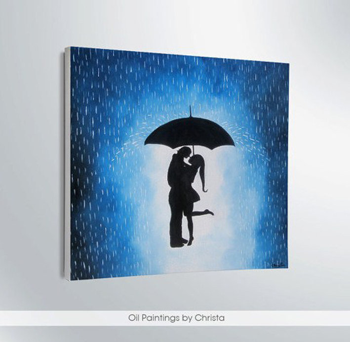 Couple Under The Umbrella Painting 12x12in Rain Wall Decor Artwork Home Gift Ideas Art Shadows Love Canvas Handmade