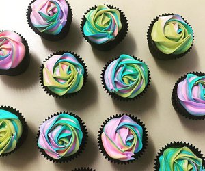 chocolate, cupcakes, and rainbow image