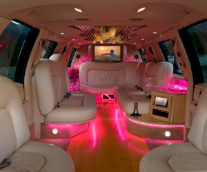 pink, car, and limo image