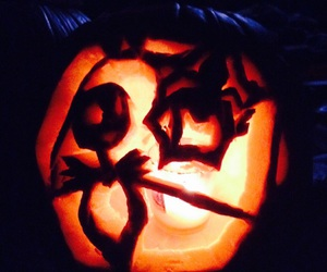 carvings, fire, and Halloween image