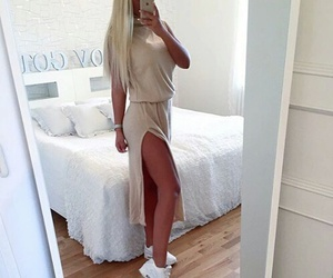 blonde, dress, and outfit image