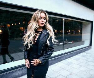 black dress, long hair, and blonde image