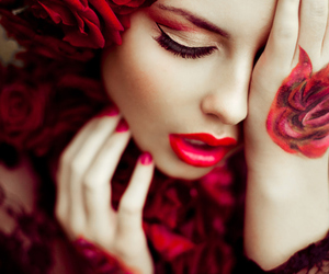 red, rose, and make up image