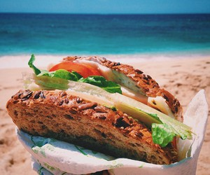 beach, food, and nature image