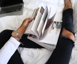 in bed, magazine, and cozy image