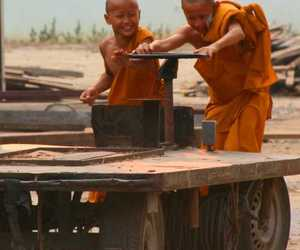 asia, buddhist monks, and playing image