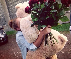 rose, flowers, and bear image