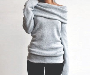 sweater, grey, and gray image