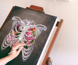 art, flowers, and drawing image