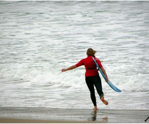 beach, surfer, and waves image
