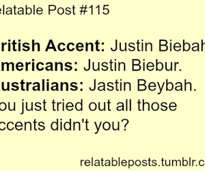 justin bieber, accent, and true image