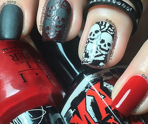 black white red, Halloween, and nail art image