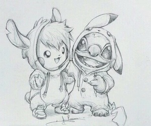 pikachu, drawing, and stitch image