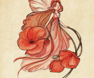 fairy, art, and flowers image