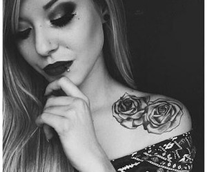tattoo, black and white, and girl image