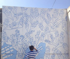art, blue, and hands image