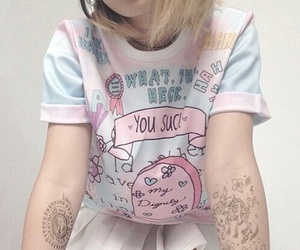 pastel, pink, and tattoo image
