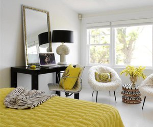 bedroom, interior, and yellow image