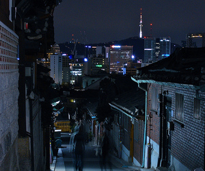 city, korea, and night image