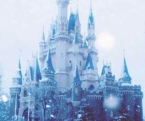 castle, snow, and disney image