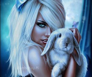 bunny, digital art, and girl image