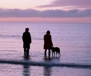 submarine, couple, and sunset image