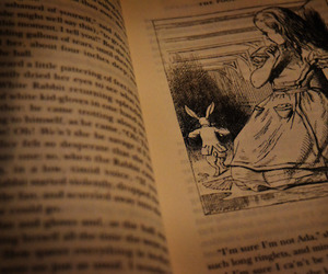 alice in wonderland, black and white, and book image