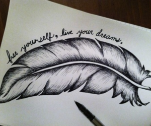 Dream, feather, and drawing image