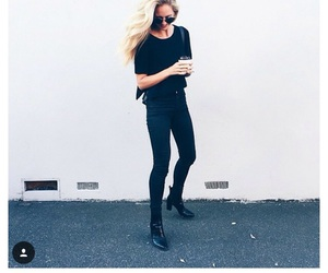 black, boots, and casual image