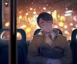 anime, cat, and rain image