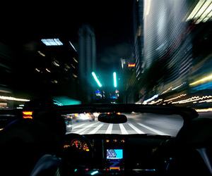 city, car, and light image