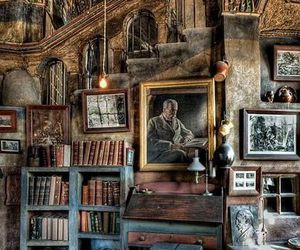library, rustic, and old image