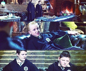 draco malfoy, harry potter, and grabbe image