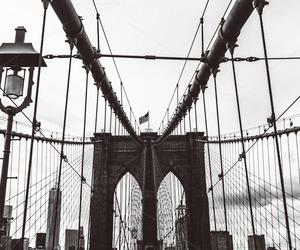 black and white, bridge, and Brooklyn image
