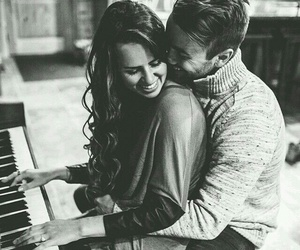 love, couple, and piano image
