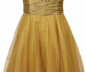 dress, gold, and ruffles image