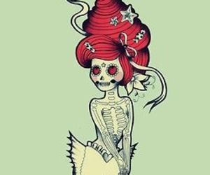 day of the dead, mermaid, and sugar skull image