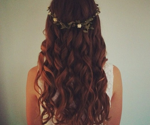 hair, flowers, and brown image