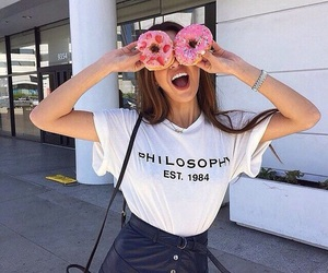 girl, donuts, and food image