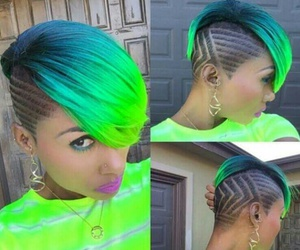 green, blue, and hair image