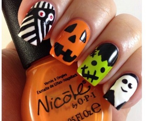 Halloween, nails, and pumpkins image
