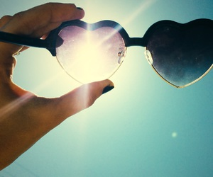 beach, heart, and heart shaped glasses image