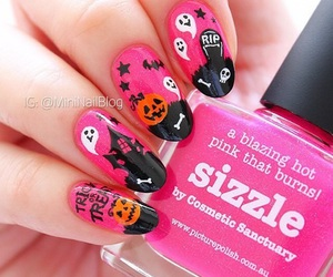 Halloween, nails, and pink image