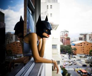 batman, window, and batgirl image